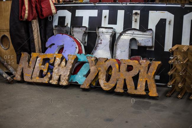 New York metal sign in a flea market
