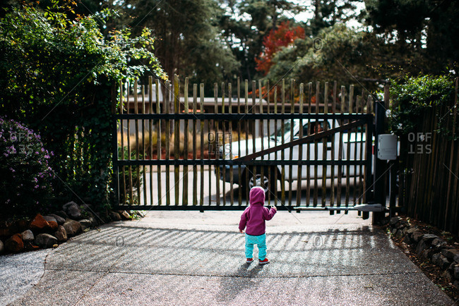Toddler watching a truck drive by outside a gate
