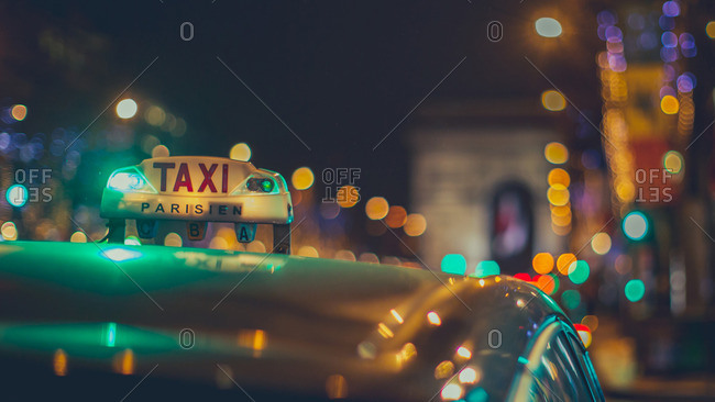 Cab in Paris at Christmas
