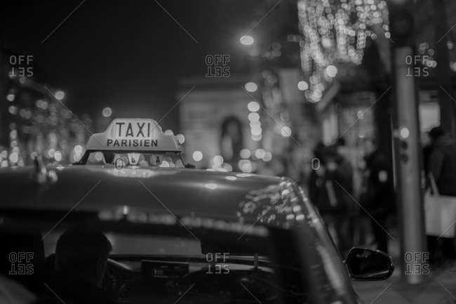 A cab in Paris at Christmas