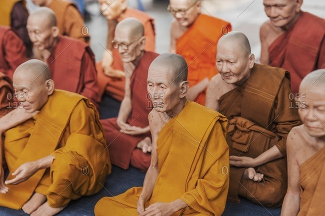 Thailand, Bangkok - January 24, 2013: Amulet Market, Buddhist monks souvenirs