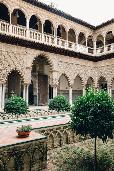 Sevilla, Spain - December 21, 2016: Royal Alcazar courtyard, Seville