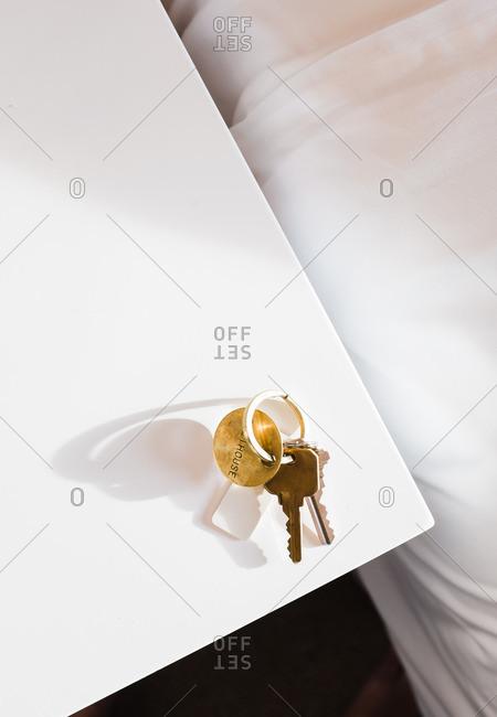 Hotel keys on table