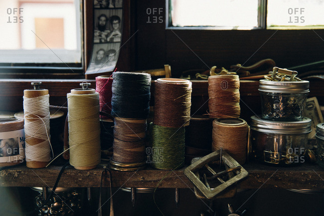 Minneapolis, MN, USA - October 20, 2014: Sewing supplies on workbench