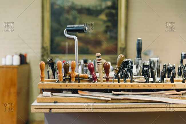 Collection of leatherworking tools