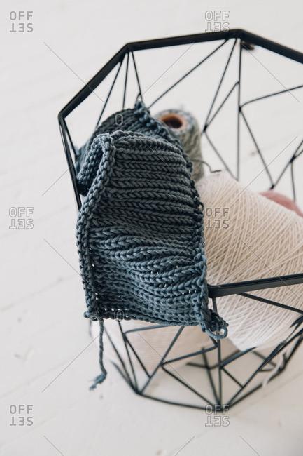 Basket of yarn and knitting scrap