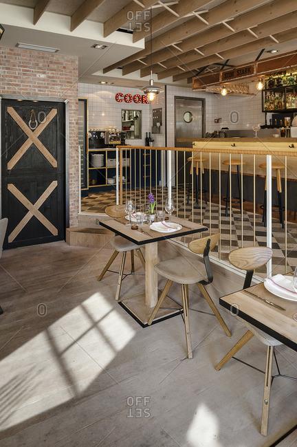 Cozy restaurant corner view in Madrid, Spain