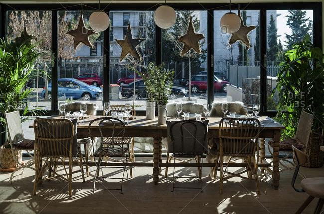 Design table in a vintage restaurant in Madrid, Spain