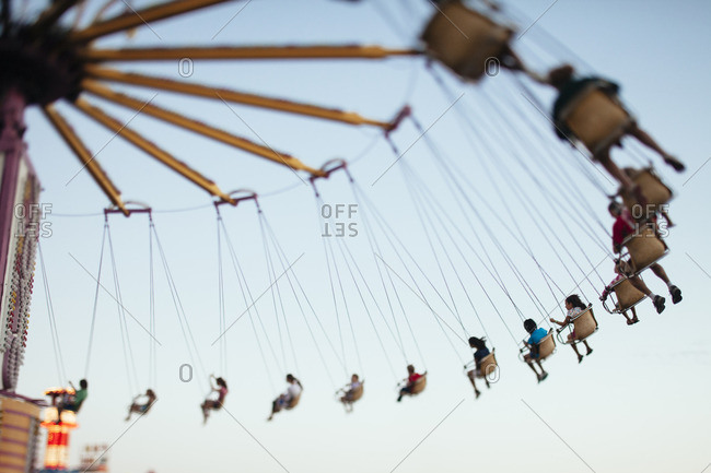 Grand Isle, Vermont, USA - August 28, 2010: Swing ride at a summer fair in Grand Isle, Vermont