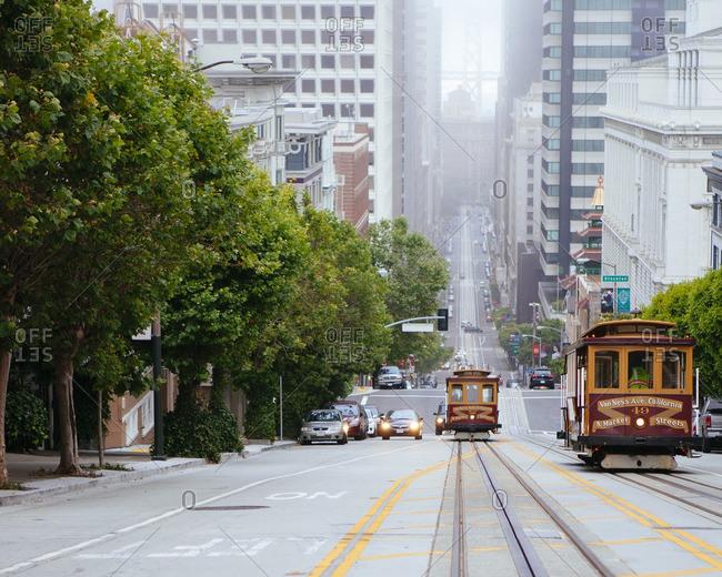 San Francisco, USA - June 17, 2012: Trolly cars in San Francisco