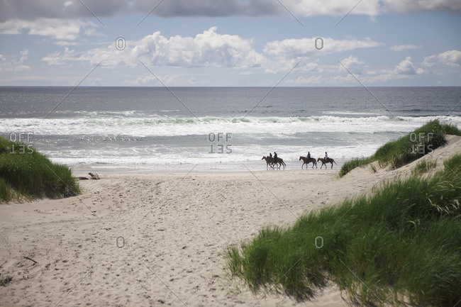 Horseback riders on a beach in Oregon