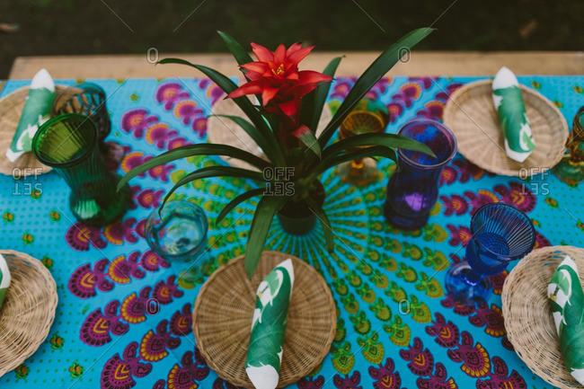 Table set for a Hawaiian themed wedding reception