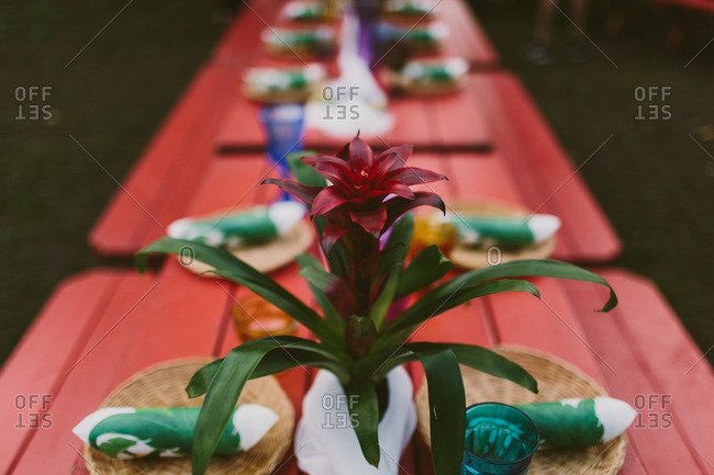 Close up of a flower on a table set for a Hawaiian themed wedding reception