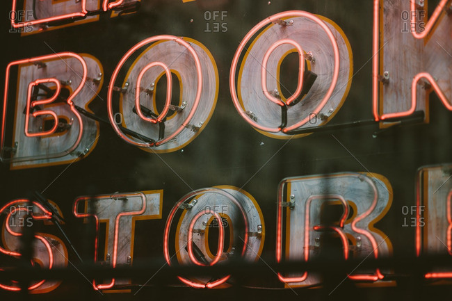 Neon sign on a bookstore