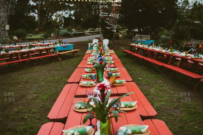 Wedding reception with red picnic tables and Hawaiian theme