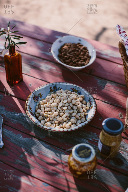 Variety of nuts on an outdoor table