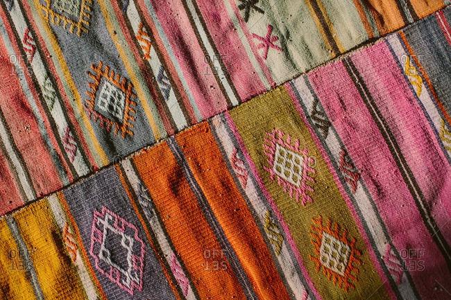 Detail of a colorful Bohemian style rug