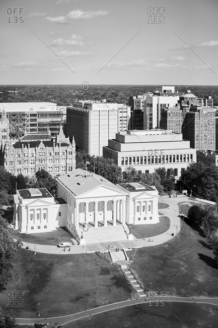 Richmond, Virginia - October 24, 2016: Aerial view of the capital building in Richmond, Virginia