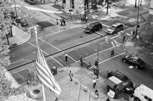 Richmond, Virginia - October 24, 2016: Aerial view of a street scene in Richmond, Virginia