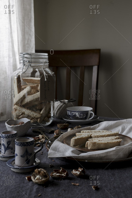 Biscotti biscuits and tea, table setting