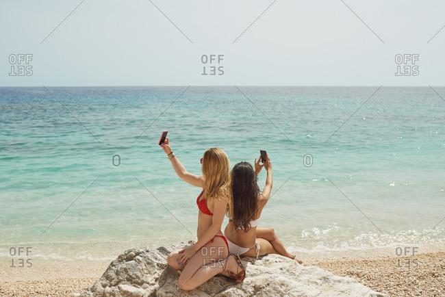 Beautiful girl friends taking selfies with smart phone