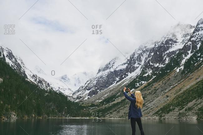 Woman taking smart phone