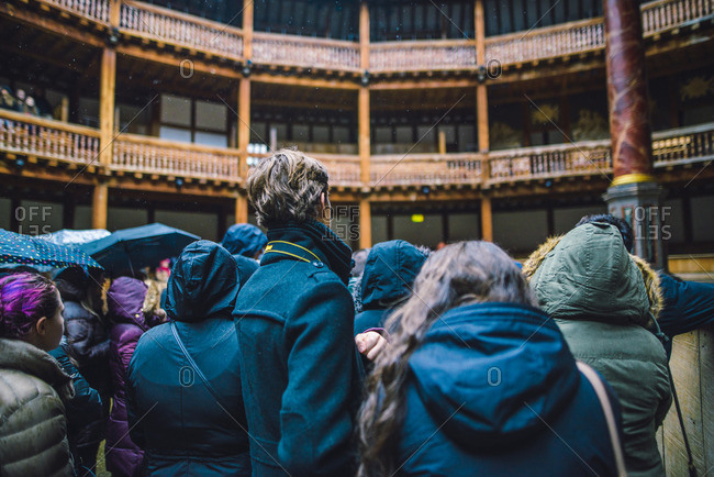 2/12/16: Tourists on a guided tour of the Globe Theater in London, England.