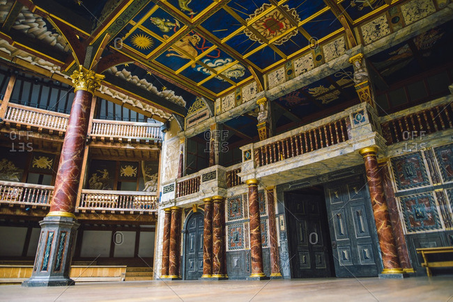 2/12/16: The interior decor at the Globe Theater in London.