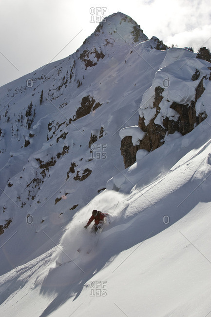 Young man skiing in Super Bowl, British Columbia, Canada