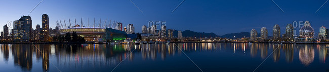 Vancouver, British Columbia - October 26, 2011: City skyline with new retractable roof on BC Place Stadium, False Creek