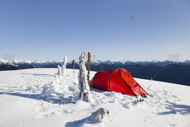 British Columbia, Canada - February 17, 2010: Tent on top of Mount Seymour in the winter with mountains view, British Columbia, Canada