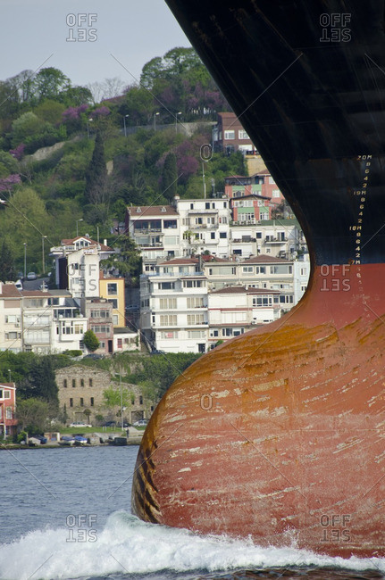 Shipping traffic, freighter bow,  along the Bosphorus, Istanbul, Turkey