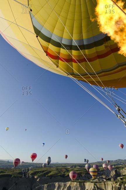 Cappadocia, Turkey - May 15, 2011: Ballooning at Goreme