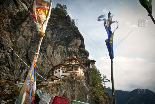 Taktsang (Tigers Nest) Monastery looms above Paro, Bhutan