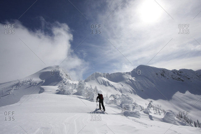 Backcountry Skier, near Whitewater Ski Resort, BC, Canada