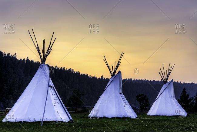 Tipis, Xatsull Village, First Nations Village, Willaims Lake, British Columbia, Canada