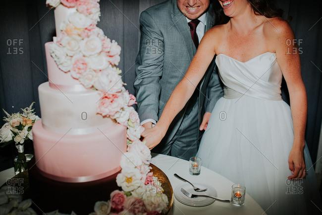 Smiling bridal couple cutting cake