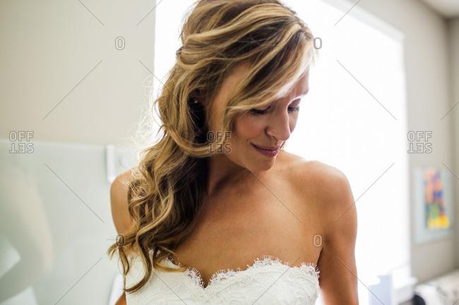 Smiling Caucasian bride