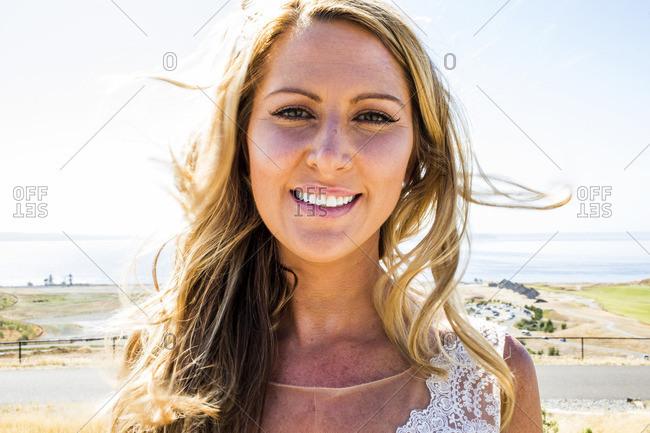 Portrait of smiling Caucasian bride