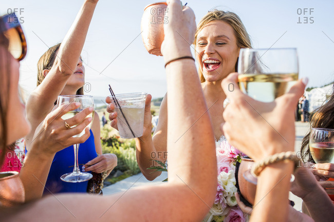 Caucasian women celebrating