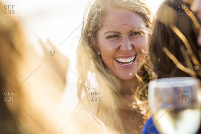 Smiling Caucasian woman outdoors