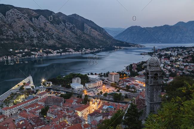 Waterfront at dusk, Kotor, Dalmatia, Montenegro