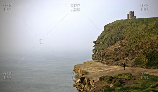 Castle on cliff near ocean