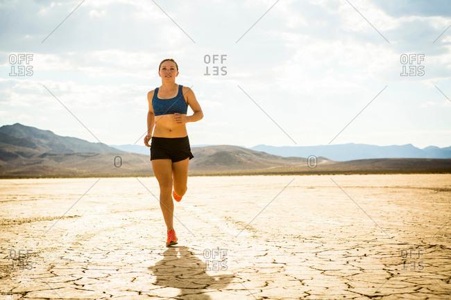 Runner training in desert, Las Vegas, Nevada, USA