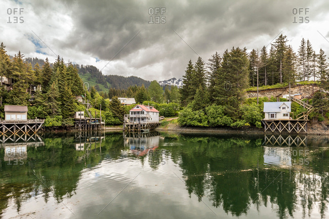 Waterfront buildings, Seldovia, Kachemak Bay, Alaska, USA