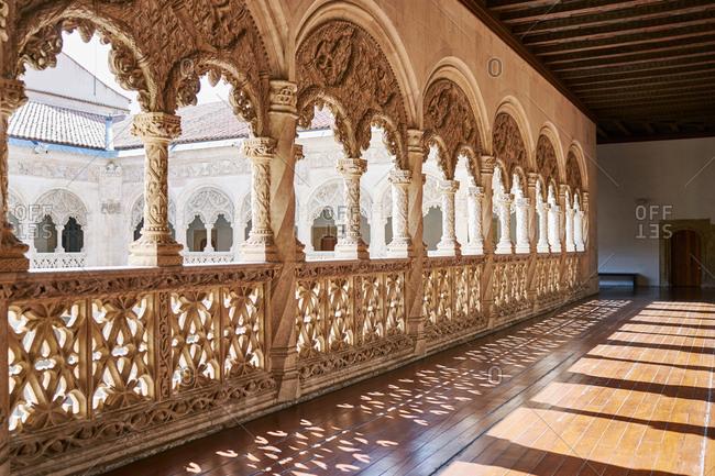 Stone carved balcony around courtyard, Museo Nacional de Escultura , Valladolid, Spain