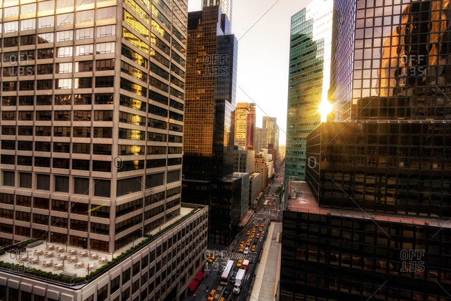 New York, USA - July 6, 2016: Elevated view of glass fronted skyscrapers, New York, USA