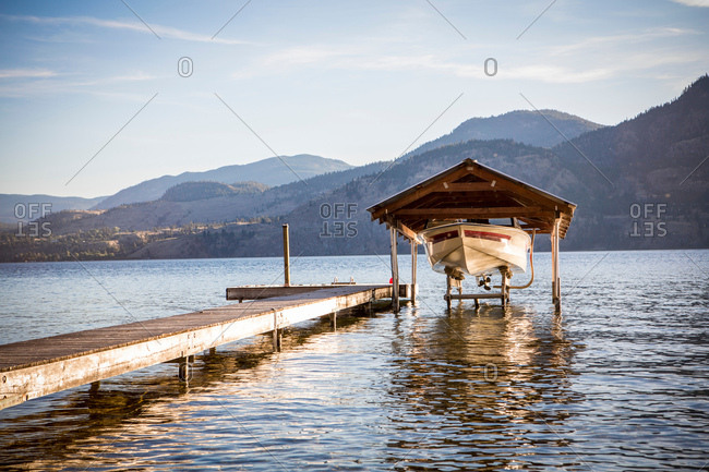 Boat moored by pier, Penticton, Canada