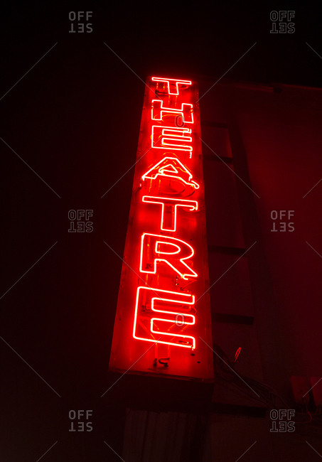 Neon sign on theatre, Piccadilly, London, UK