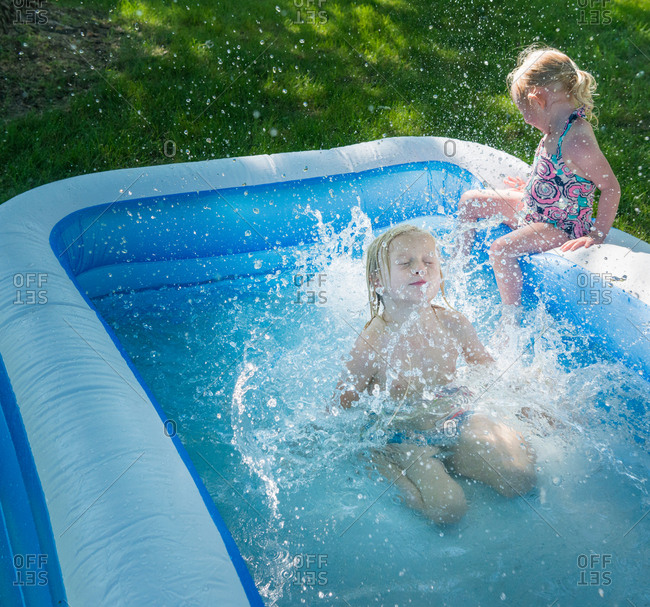 Jump stock photos offset for Big paddling pool